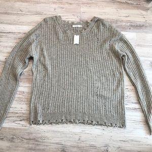 Skylar + Madison Gray Distress Oversized Sweater
